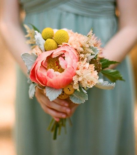 Astible, Billy Button, Peony, Dusty Miller, Scabiosa Pods..Floral and Bouquet Inspiration from http://bouquet-bouquet.com