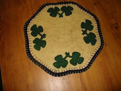 """Primitive Candle Mat -Woolfelt Penny Rug-Shamrock 9"""" Offered to you by:Bits of Cloth This is a new primitive candle mat. I have handcrafted this from woolfelt and hand-sewn all the pieces with great c"""