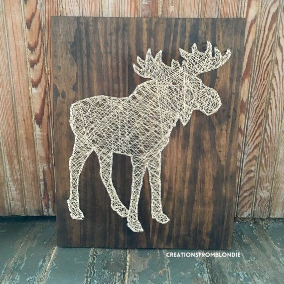 This Moose board makes a perfect decoration for your home (or craft room!). This would also look great on a mantle or for wall art. Or even would be a nice gift to a co-worker, friend, or family member. It could even serve as decoration in a cabin, etc. This listing is for a made to order wood nail art sign thats approximately 16 wide by 20 long. By default, this board will come as pictured (Dark walnut stain and cream floss). If you would like something else instead, please use the…