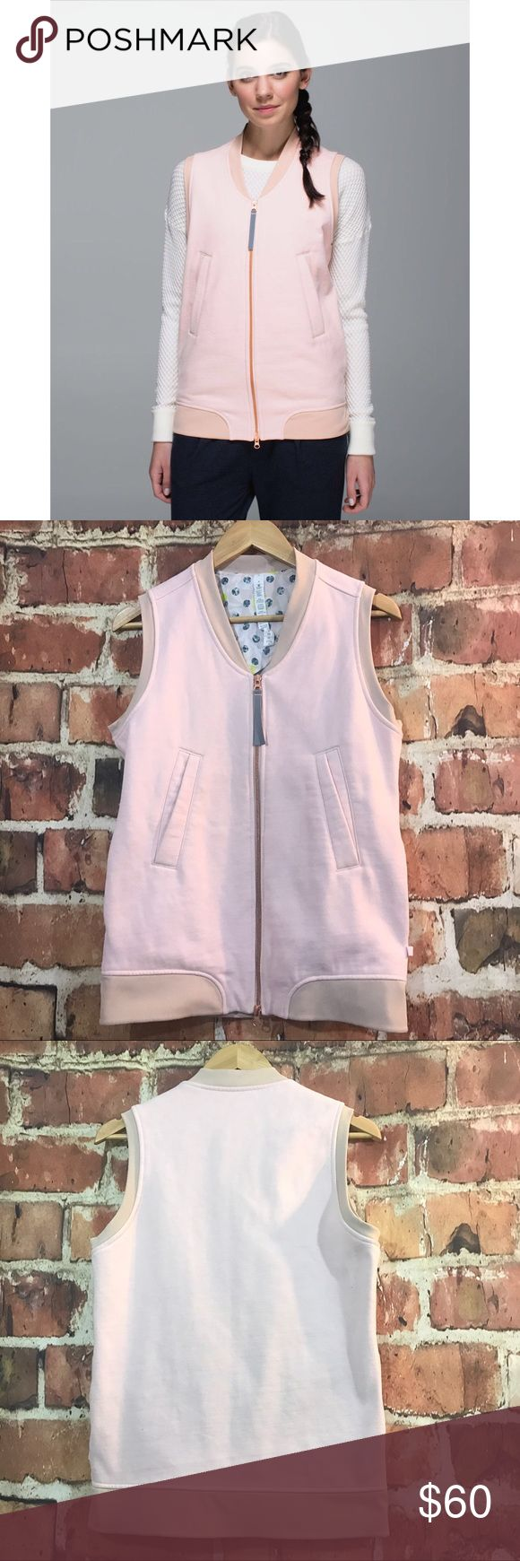Lululemon Pale Pink Departure Zippered Vest 4 Lululemon Departure vest. Has a loose fit and is ideal for layering! Light Pink in color for endless styles! Fleece material and perfect for the cold! Gold zip closure and reflective zipper pull. Size 8. Preloved & in great condition! Retail is $108 + tax! lululemon athletica Jackets & Coats Vests