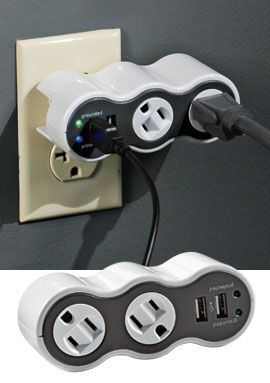 I WANT ONE!!! $23 for portable surge protector with phone charging usb portals too.