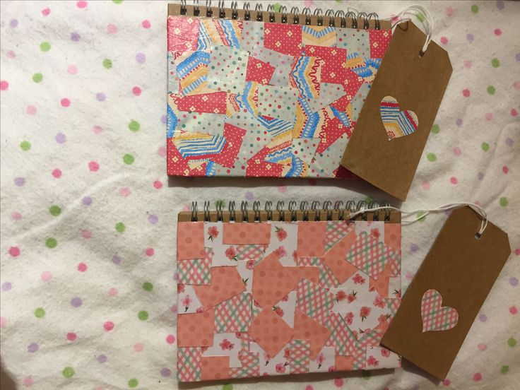 Paper patchwork decorated notebooks