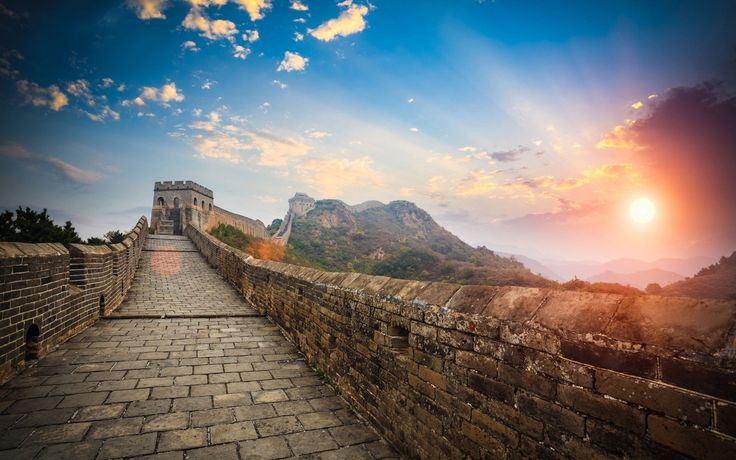 Wall Of China Sunrise Wallpaper HD For Desktop and Mobile