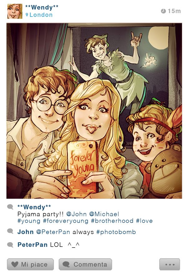 """The Photobombed Selfie: Wendy, Peter Pan, John, and Michael"" by Simona Bonafini"