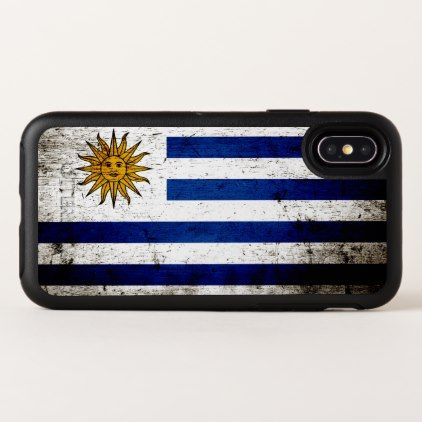 Black Grunge Uruguay Flag OtterBox Symmetry iPhone X Case - diy individual customized design unique ideas