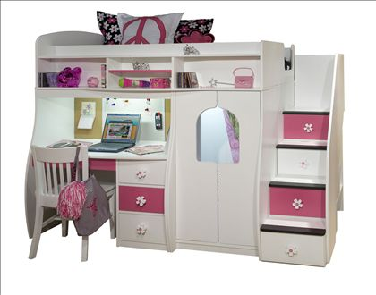 Teen Girls Loft Bed With Desk | Berg Play And Study With Storage And 4  Stairs