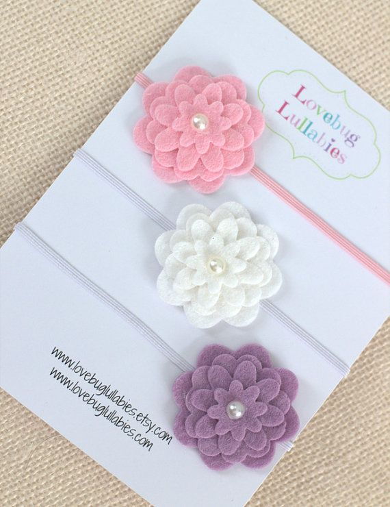 Layered Felt Flower Headband or Hair Clip Set in Pink, Lavender & White by LovebugLullabies www.lovebuglullabies.etsy.com