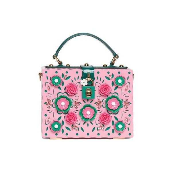 Dolce and Gabbana 'Dolce Box' Bag With Embellishment (207.745 RUB) ❤ liked on Polyvore featuring bags, handbags, purses, pink, dolce gabbana bags, purse bag, embellished handbags, handbags purses and hand bags