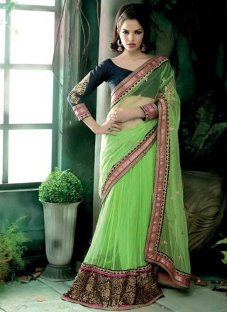Classy Green Net Embroidery Work Patch Border Lehenga Saree  http://www.angelnx.com/Sarees/Lehenga-Sarees#/sort=p.date_added/order=DESC/limit=32/page=3