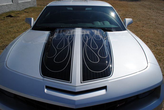 Chevy Camaro with flaming stripes: Silver Cars, Flames Stripes, Chevy Camaro, Cars Photography