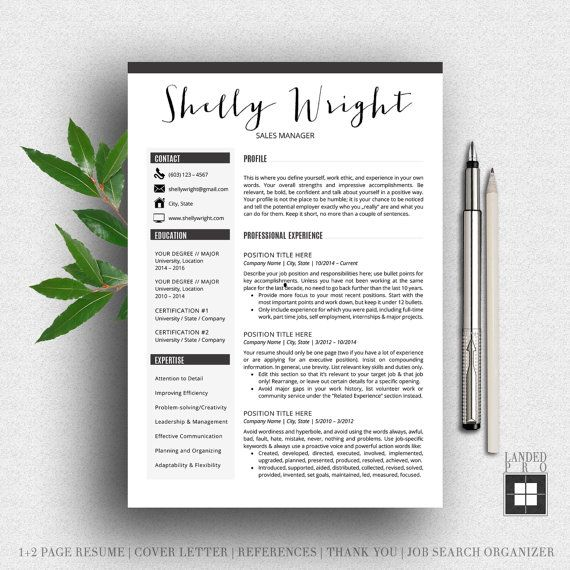 Resume Template & Cover Letter Template | Professional Modern Creative Resume Template | MS Word for Mac + PC | US Letter + A4 | 4 pk Shelly
