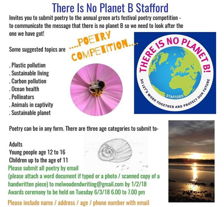There is No Planet B Stafford - Poetry Competition