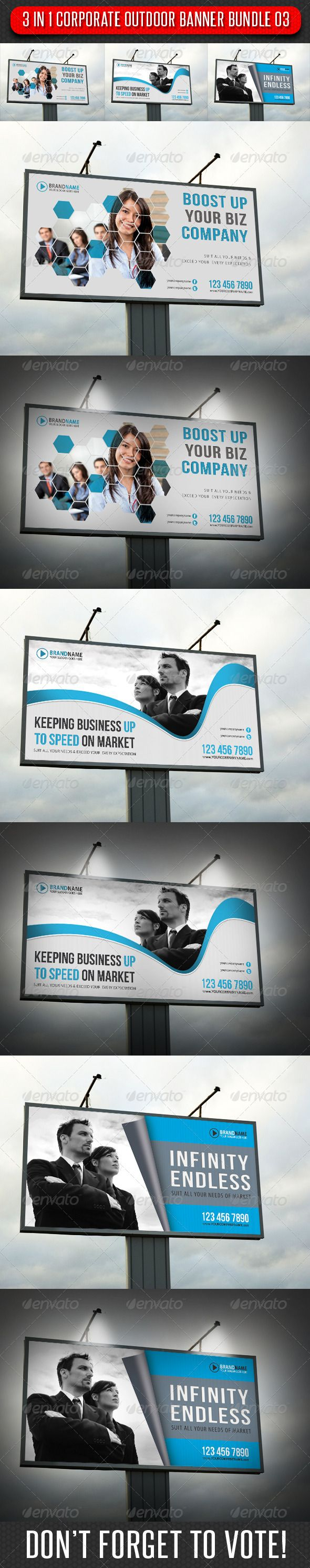 3 in 1 Corporate Outdoor Banner Bundle 03 — Photoshop PSD #ad #advertise • A...
