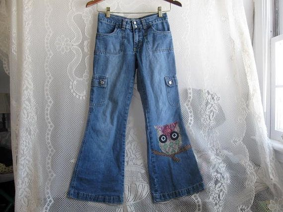 Upcycled Old Navy Blue Jeans size 10 Child by HappyRagz on Etsy