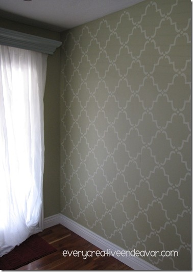 Stenciled {Dining Room} Walls: Paintings Color Wal, Stencil Dining, Living Rooms, Billowi Curtains, Paintings Stencil, Dining Rooms Wall, Stencil Wall