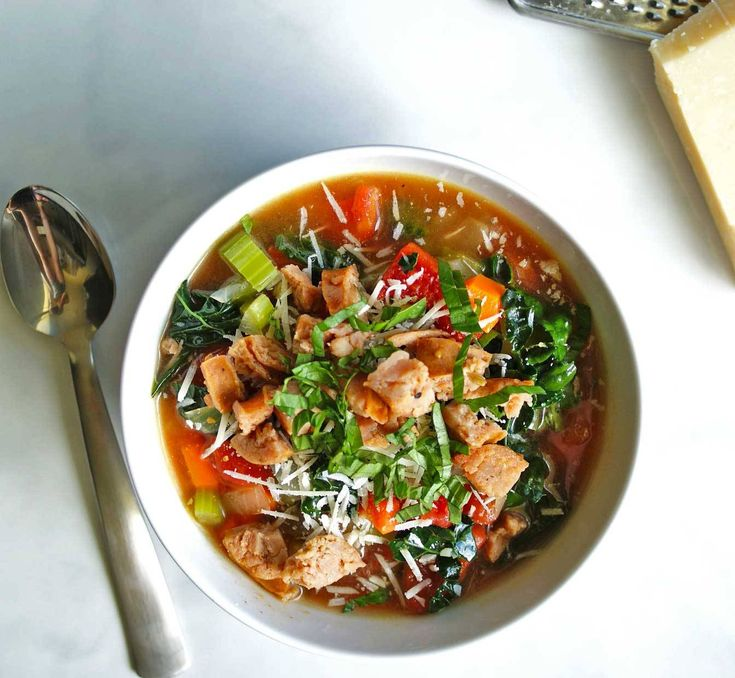 Italian Chicken Sausage and Vegetable Soup is protein and veggie packed - and full of flavor! Click here for the recipe.