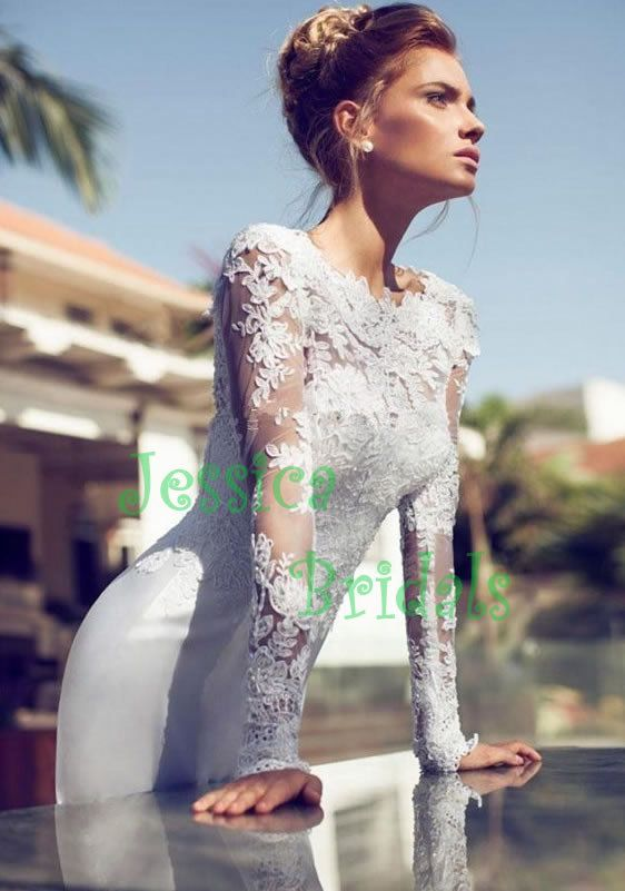 Custom made long sleeves lace satin removable by JessicaBridals, $398.00