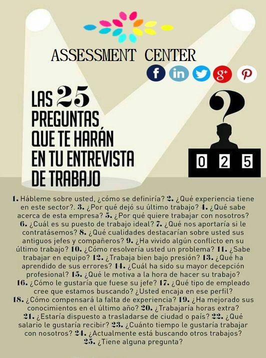 25 Preguntas en la #Entrevista de trabajo. La #Foto de tu #Curriculum es muy importante, presta atención a estos consejos. #TipsLaborales #AssessmentCenter #Emprendedores