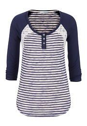 striped baseball tee with lace - maurices.com  Casual and cute- Pair with shorts as summer continues to heat up or style with skinny jeans for a transitioned fall look