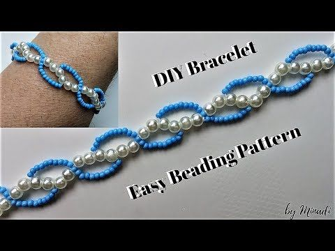 DIY Pearl Beaded bracelet, square Stitch (TUTORIAL) - YouTube
