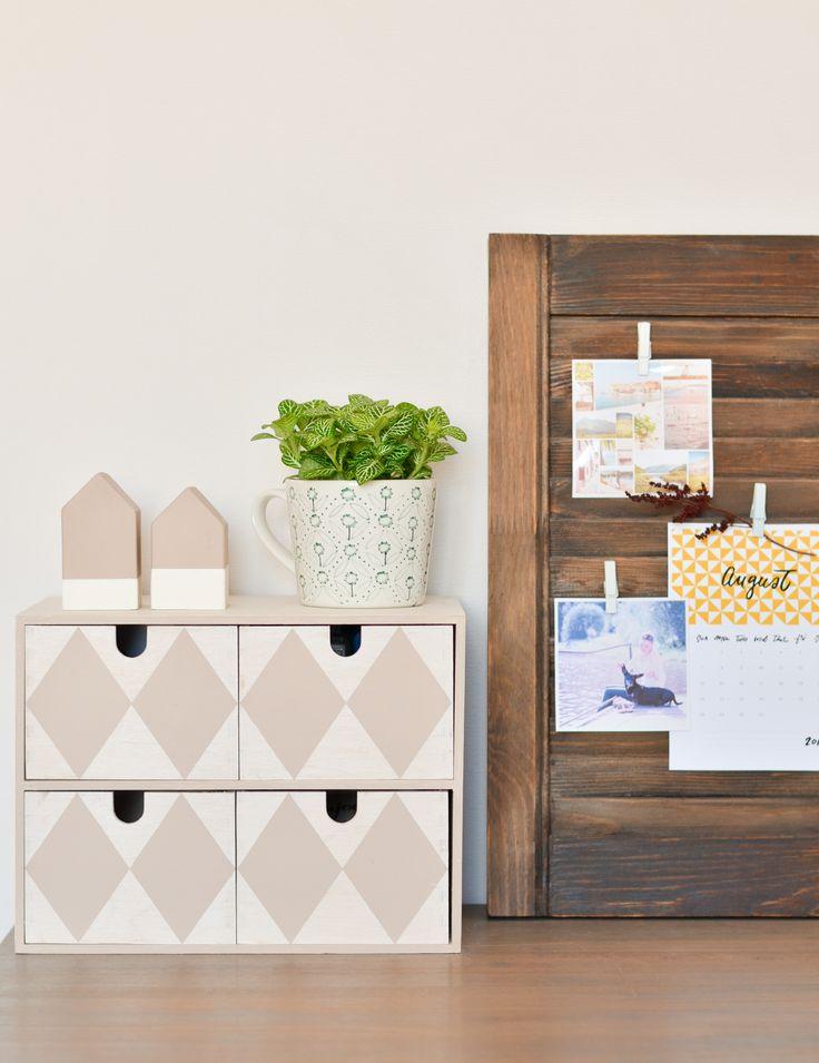 workspace / mini chest of drawers / DIY shutter door organizer / рабочее место / мини-комод из дерева / органайзер из жалюзийной дверцы своими руками