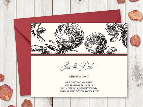 Printable wedding save the date card template Classic Roses in black color. DIY wedding save the date cards.