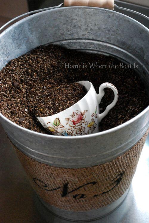 cup scoop for potting soil~ http://homeiswheretheboatis.net/potting-shed/
