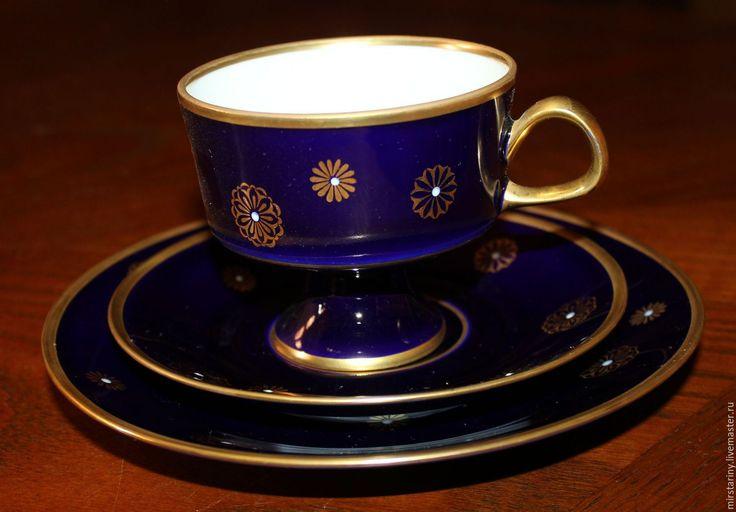 Купить Чайное трио с золотым орнаментом, кобальт, Lichte, Германия, 1970-е - темно-синий