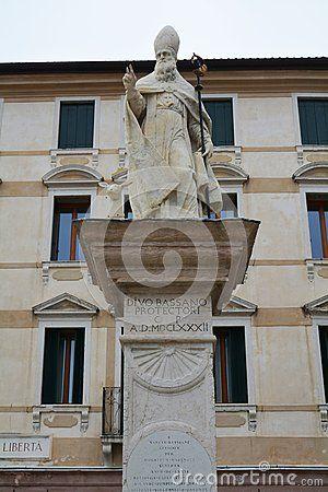 Liberty Square and statue in the old town of Bassano del Grappa, in Veneto, Italy.