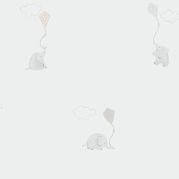 Papel pintado infantil Elefante beige