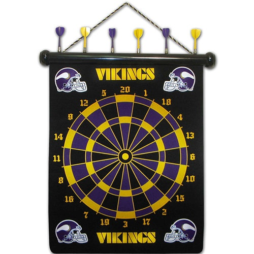Minnesota Vikings Magnetic Darts: These magnetic dart boards offer all the fun and playability of regular darts with none of the damage to the wall surrounding the dart board! The game includes a magnetic hanging gameboard and 6 magnetic darts (3 of each 2 colors).  $29.99  http://calendars.com/Minnesota-Vikings/Minnesota-Vikings-Magnetic-Darts/prod1289011/?categoryId=cat00498=cat00498#