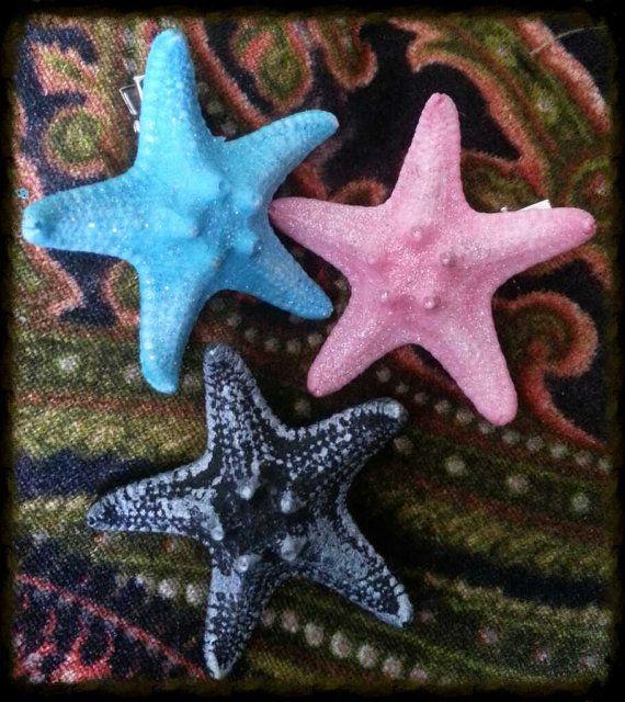 Resin cast starfish hair clip