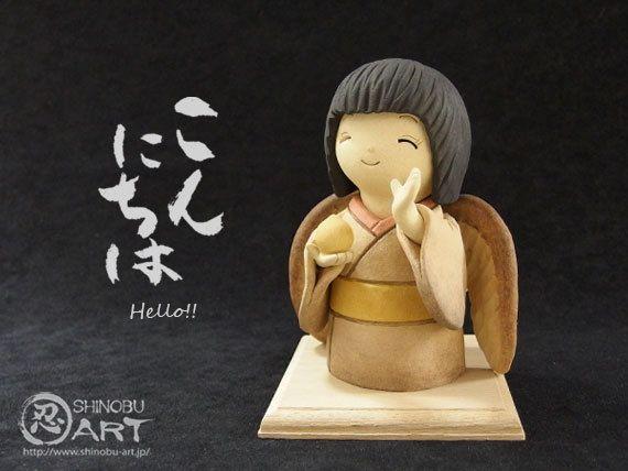 """Etsy のShinobu Araki Art・Ceramic """"Sparrow Girl - Precious Orb -""""(ショップ名:ShinobuArakiArt)"""