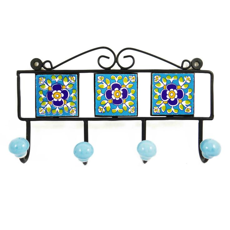 This is beautiful floral handmade ceramic wall hook/ hanger. ..this is img
