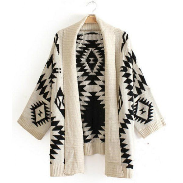 Trendy Style Collarless Long Sleeve Geometric Pattern Women's Cardigan, WHITE, ONE SIZE in Sweaters & Cardigans | DressLily.com