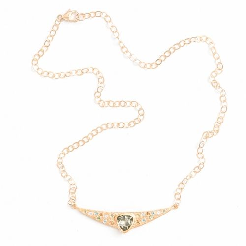 Trillion Necklace Gold Green Amethyst