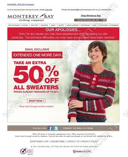 Brand Monterey Bay.   Subject:  Our Apologies - 50% off All Sweaters EXTENDED!