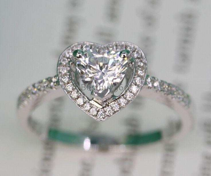 Ювелирные изделия с бриллиантами 0.8ct 925 твердых серебряное кольцо в форме сердца SONA синтетический алмаз обручальное кольцо имя гравировки колец (ПБ)