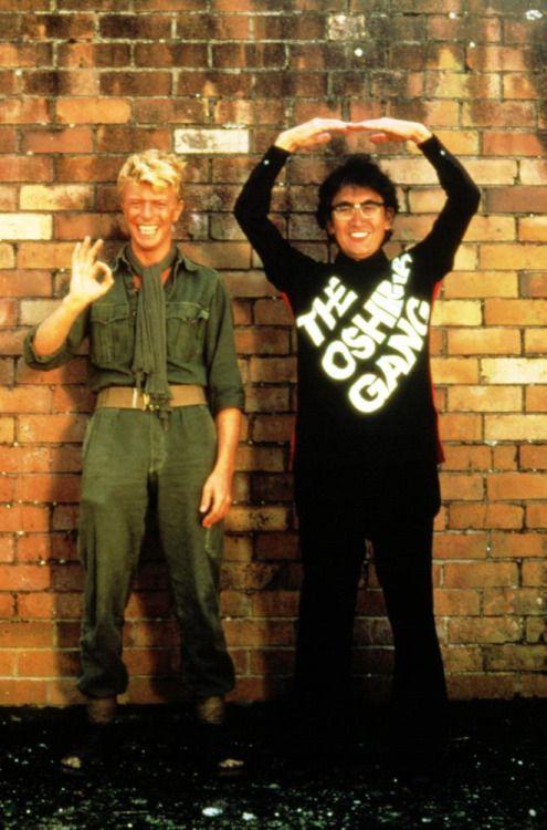 David Bowie and Nagisa Oshima on the set of MERRY CHRISTMAS MR. LAWRENCE.