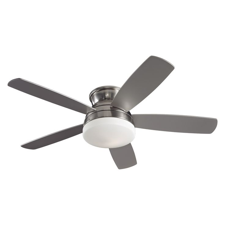 Shop Monte Carlo Fan Company 52-in Brushed Steel Flush Mount Ceiling Fan with Light Kit (5-Blade) at Lowes.com
