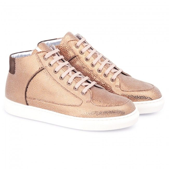 Metallic Trainers > Bronze Simmy Mid-Top Sneakers by Rose Rankin