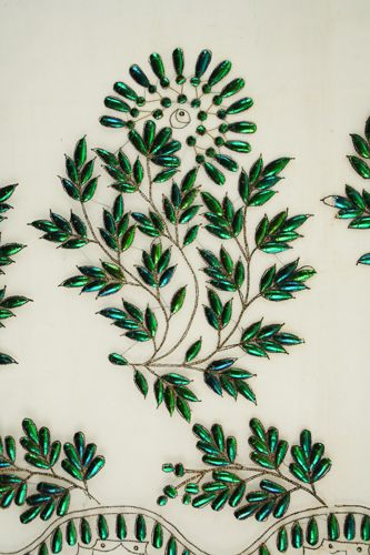 India: West Bengal, CalcuttaDress panel (woman's). 1830 to 1832 Plain weave; Embroidered; Appliqué (beetle wings)Henry Art Gallery, gift of Mrs. Barbara Drake Matz, 63.7-1 #embroidery #green