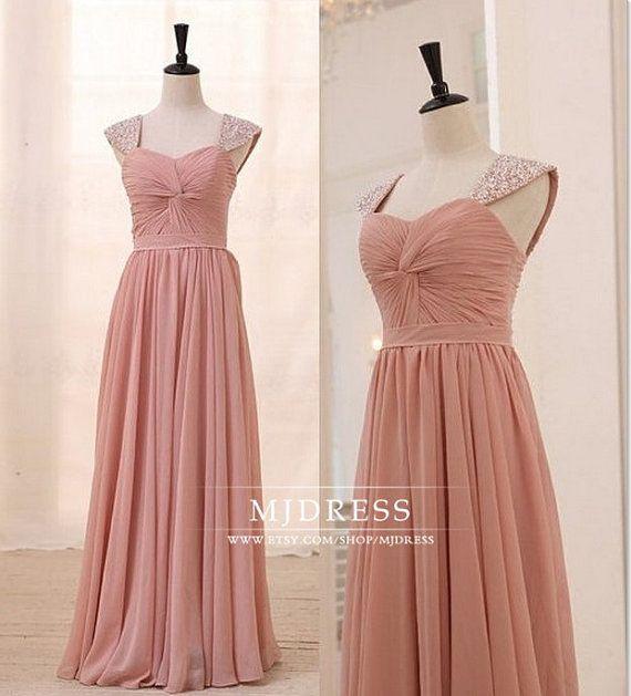 Beaded Chiffon prom dress ball gown wedding party dress by MJDRESS