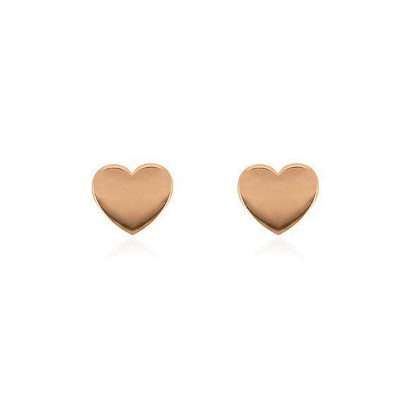 Heart Stud Earrings - Rose