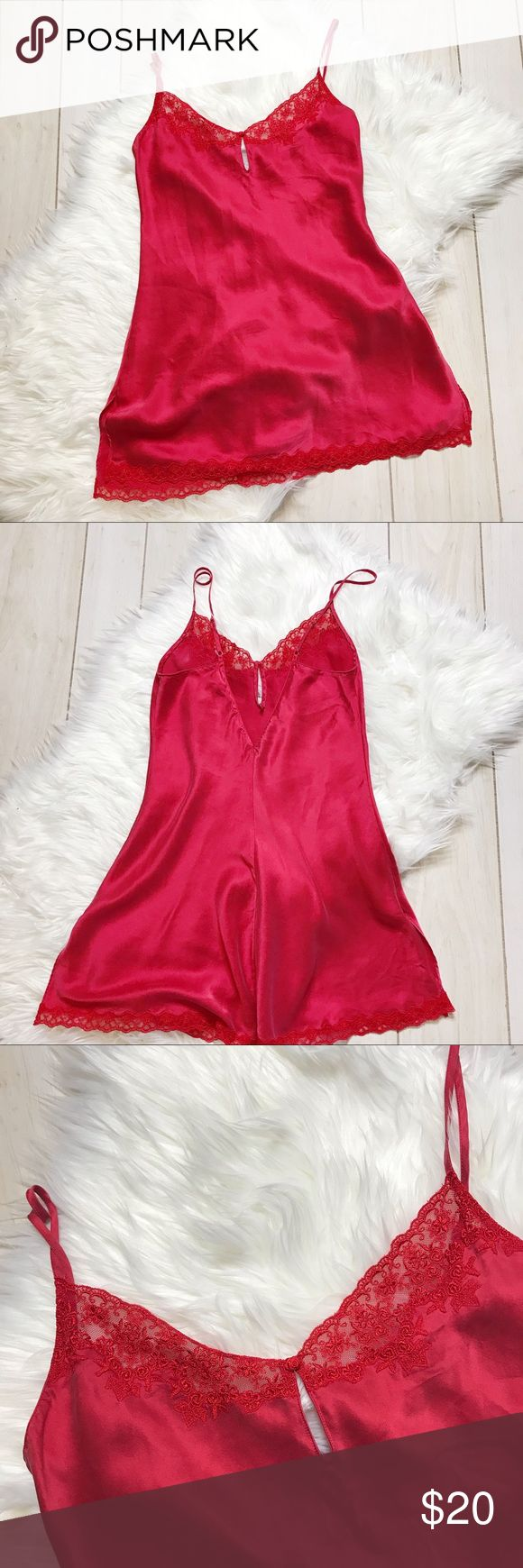 Victoria S Secret Red Silk Lace Trim Chemise Slip In 2020 Chemise Red Silk Lace Trim