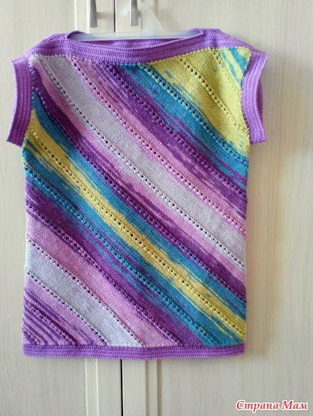 топ по диагонали вязание для детей страна мам меланж и
