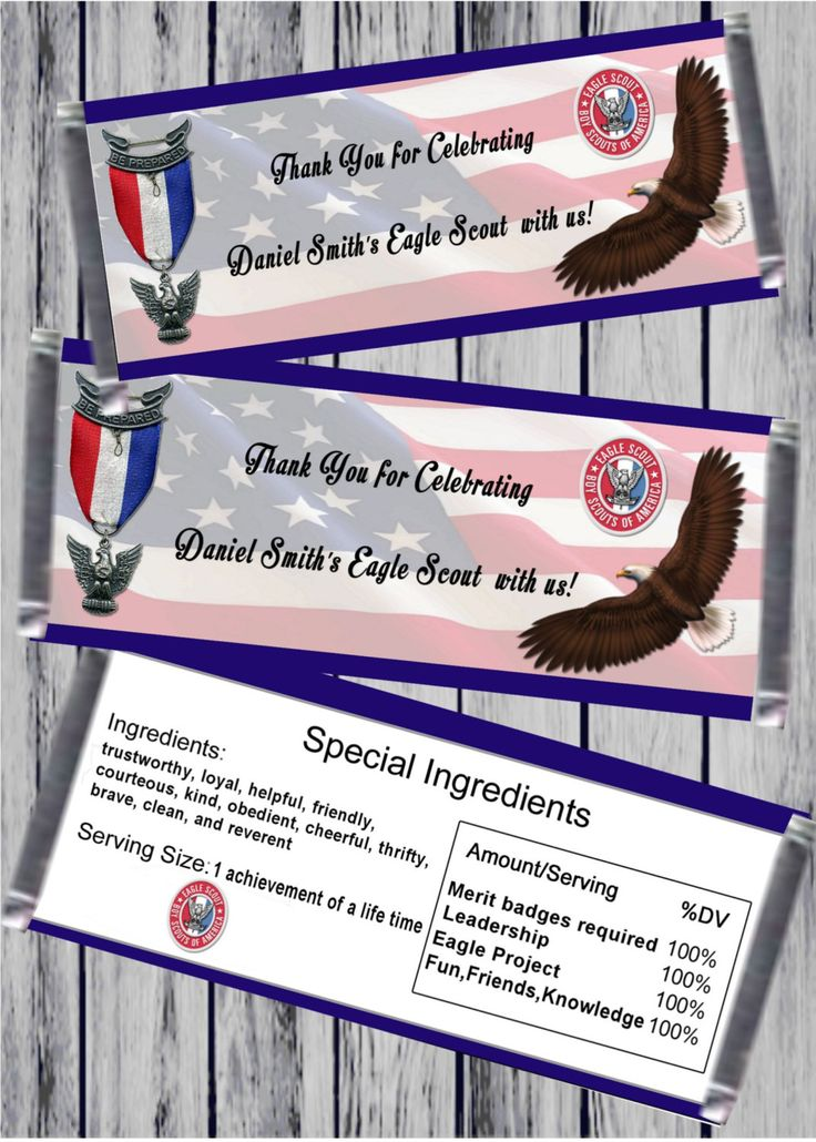 Printable Eagle Scout thank you for coming candy bar wrapper by PartyPaloozza on Etsy
