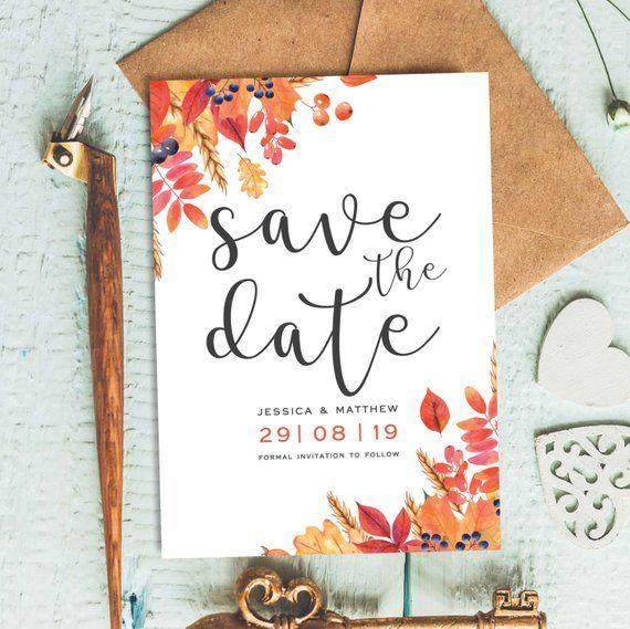 Save The Date Cards Autumn Wedding