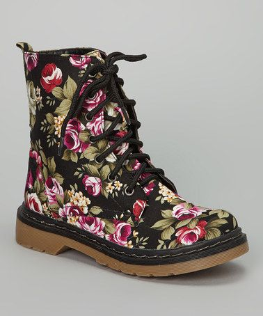 Take a look at this Black Floral Nori Boot by Bamboo on #zulily today! | See more about Floral Boots, Bamboo and Floral.