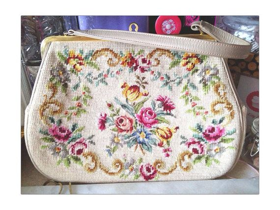Vintage 50s/60s hand-embroidered tapestry by CraftyKittyBoutique